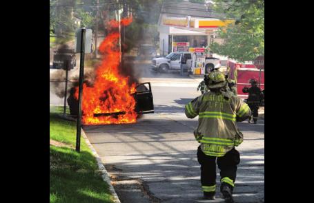 CAR FIRE NEAR LIVINGSTON CENTER